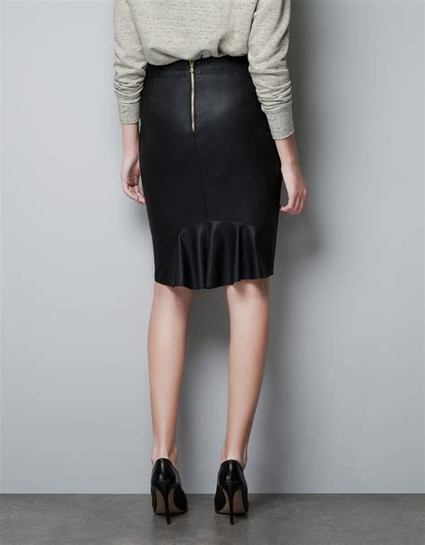 zara leather pencil skirt in black lyst