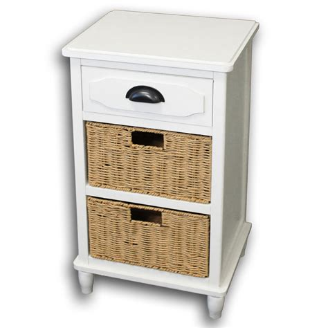 designs 3 drawer stand with wicker