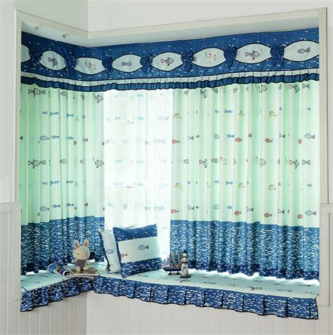 boys nautical curtains cute and fun polyester nautical fish pattern curtain for