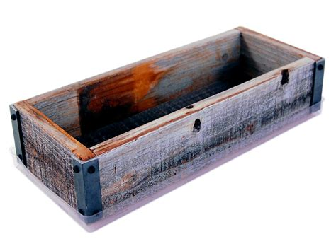 Rustic Wood Planter Box by Reclaimed Barnwood Planter Box Made From Rustic Weathered