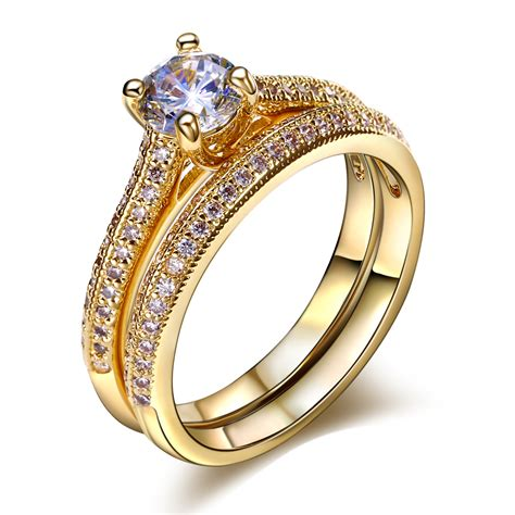 Cincin Pasangan Gs237 Gold Forever Cincin Anniversary aliexpress buy dreamcarnival 1989 solitaire wedding rings set for forever