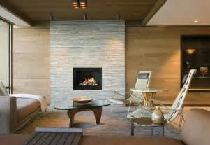 modern fireplace design ideas set in grey wall in