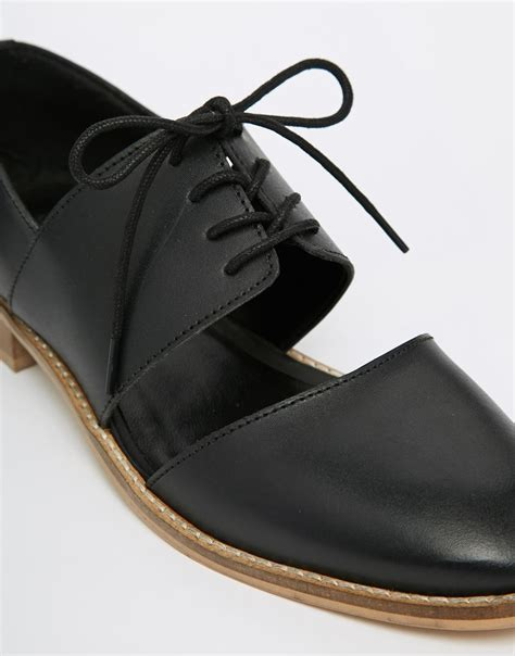 wide flat shoes asos marcie leather wide fit flat shoes in black lyst