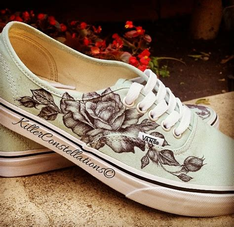 design white vans custom hand drawn sharpie rose design vans shoes