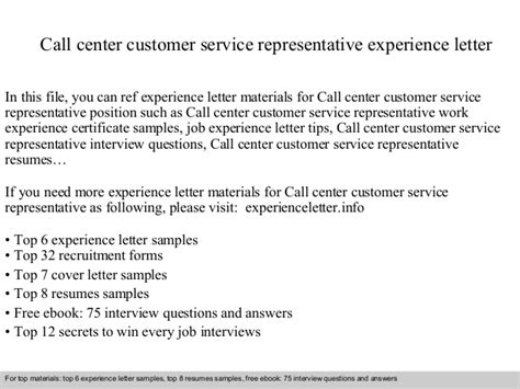 call center customer service representative experience letter