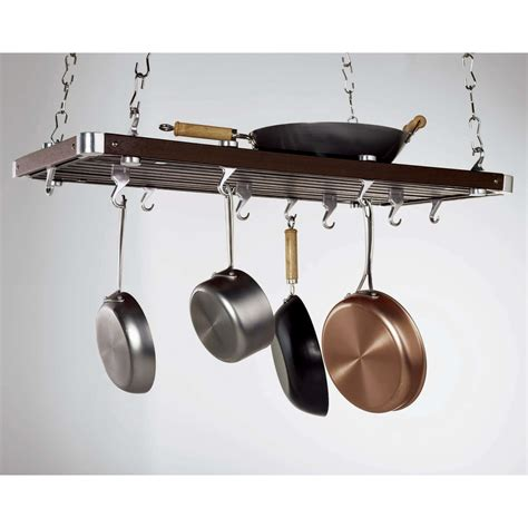 Ceiling Mount Pot Rack concept housewares rectangular ceiling mounted pot rack reviews wayfair
