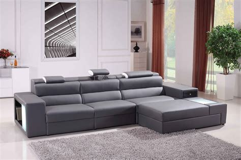 Modern Grey Sofa by Polaris Mini Contemporary Grey Bonded Leather Sectional Sofa