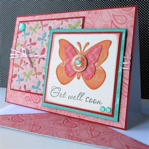 Handmade Get Well Soon Cards - handmade get well soon card with matching embellished