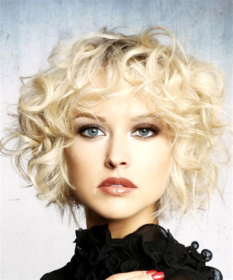 hairstyles for short blonde curly hair short curly formal shag hairstyle with layered bangs