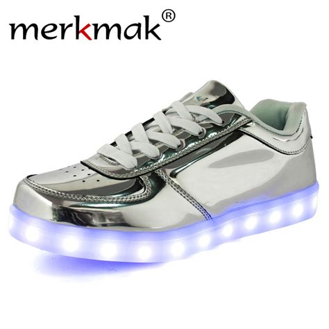 aliexpress buy merkmak gold silver fashion led light up lumineuse flat shoes