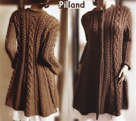 knitted coats for cable knit coat sweater pdf knitting pattern aran knit