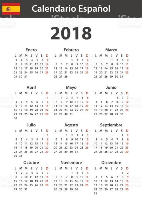 Calendario 2018 Español Calendario Espa 241 Ol Para 2018 Plantilla De Planificador