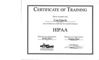 Hipaa Certification Letter Awards And Certificates Lisa Garcia