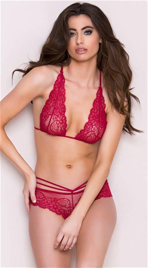 Bra Set Braset Lace Lingeri Wanita strappy burgundy lace bra set sheer lace bra set