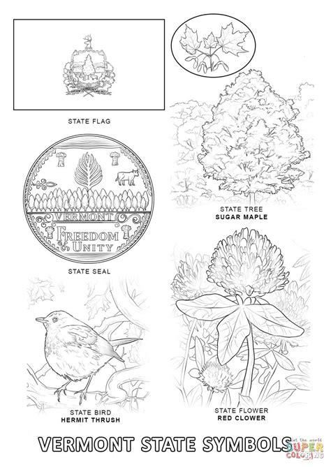 vermont state symbols coloring page free printable