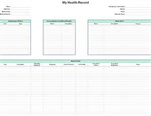 personal health record template personal health record office templates