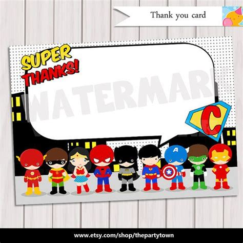 pop art superhero thank you note card super hero
