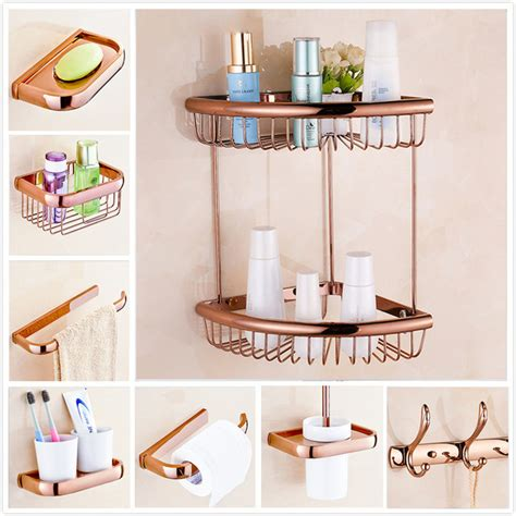 Rose Gold Decoration Bathroom Set Robe Hook Cup Brush Hold Gold Effect Bathroom Accessories