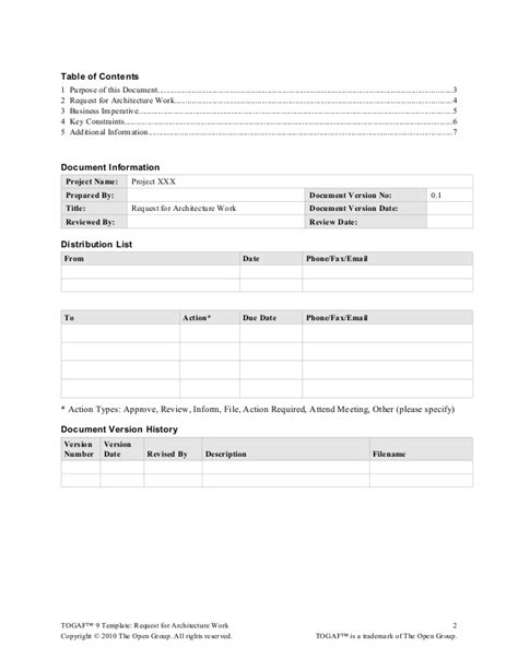 Info Briefformat Togaf 9 Template Request For Architecture Work