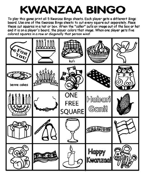 printable kwanzaa games kwanzaa bingo board no 5 coloring page crayola com