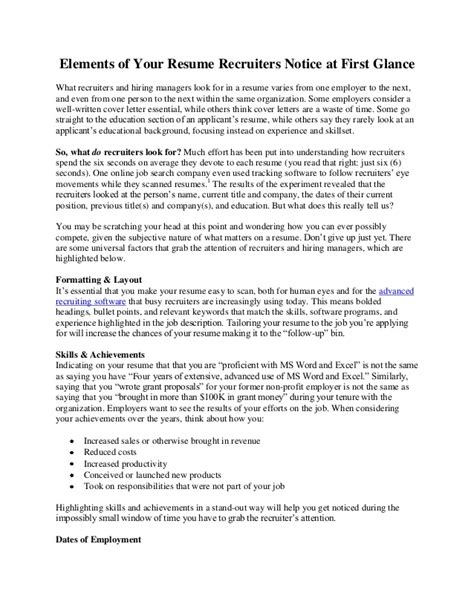 elements of your resume recruiters notice at glance