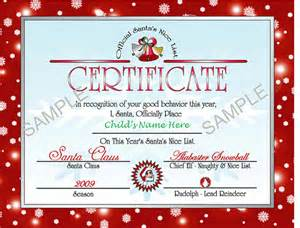 Santa Claus Certificate Template by Printable Santa S List Certificate Letter