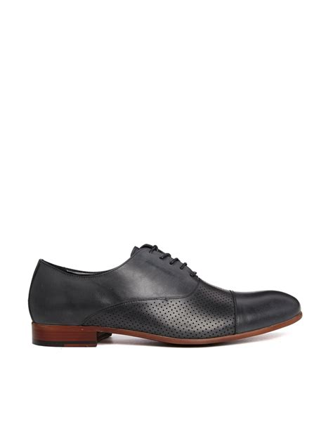 aldo shoes oxford aldo clibon leather perf oxford shoes in black for lyst