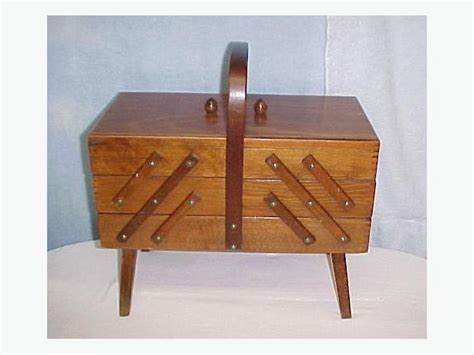vintage mid modern wood expandable 3 tier sewing box