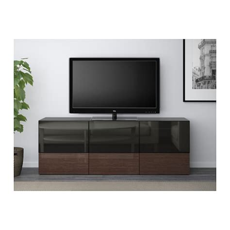 glass tv bench best 197 tv bench with doors and drawers black brown