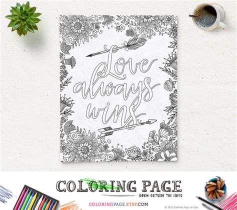 printable zen quotes coloring page printable art quote love always wins instant