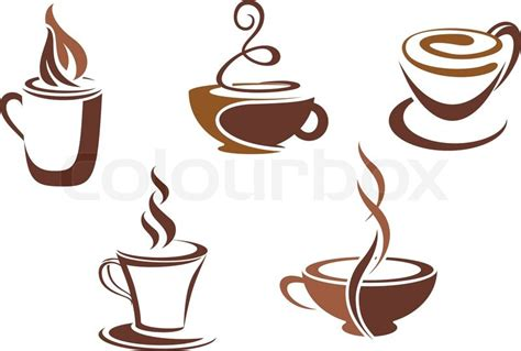 Kaffee und Tee Symbole und Symbole für Food Design   Stock Vektor   Colourbox