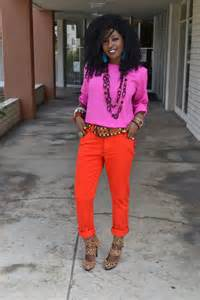 style pantry neon pink blouse pegged