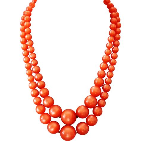 orange bead necklace orange color cellulose plastic bead vintage necklace