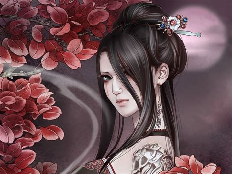 wallpaper girl drawing anime tattoos wallpaper of a gothic anime girl with