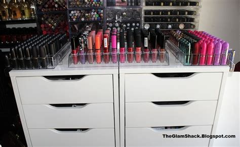 ikea shelf with lip ikea alex with azar lipstick and lip gloss holders azardisplays are a hidden gem for organizing