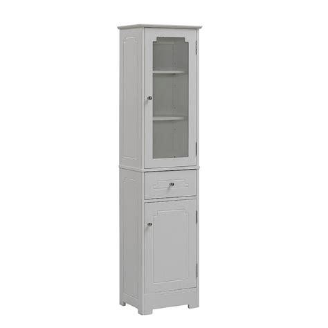 bathroom linen storage tower cabinet xx white wood tall slim  glass door  ebay