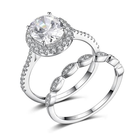 Silver Engagement Rings by Oval Cut Gemstone 925 Sterling Silver Engagement Ring