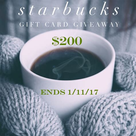 Starbucks Gift Card Giveaway - 200 starbucks gift card giveaway