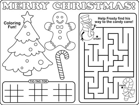 printable christmas placemats to color free coloring pages