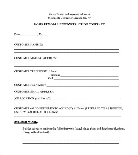 remodeling contract templates  apple pages