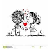 Couple In Love Together Valentine Sketch For Your Stock Photography