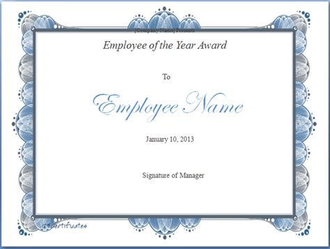 employee certificate template the gallery for gt employee of the year certificate