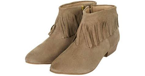 topshop blinked fringed ankle boots in brown lyst