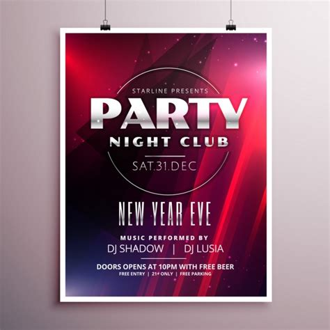 new year s eve party poster template vector free download