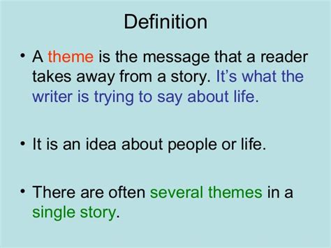 theme definition english exles theme