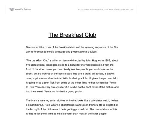 Club Essay by Breakfast Club Analysis Essay