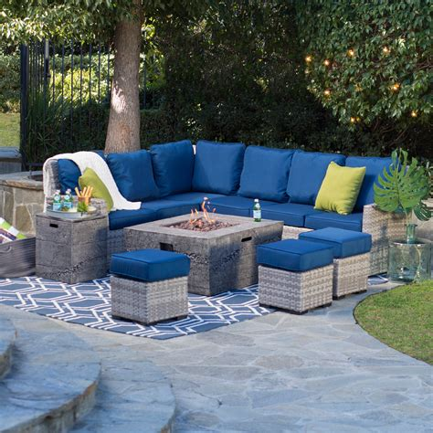 Patio Set With Firepit Table Table Patio Set Belham Living Brookville All Weather Wicker Pit Chat Set With