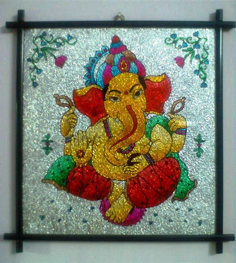 glass painting a beautiful glass painting of lord ganesha shopping