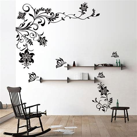 wall flower stickers butterfly vine flower wall decals vinyl stickers