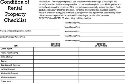 condition of rental property checklist template rent and lease template free premium